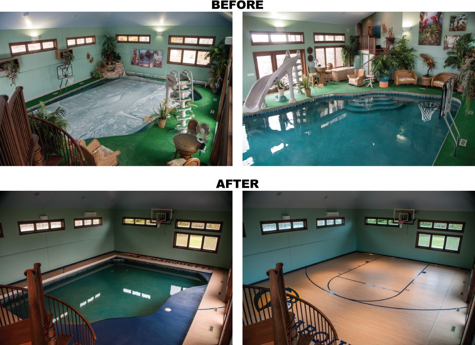Case Studies Indoor pool house, Home basketball court
