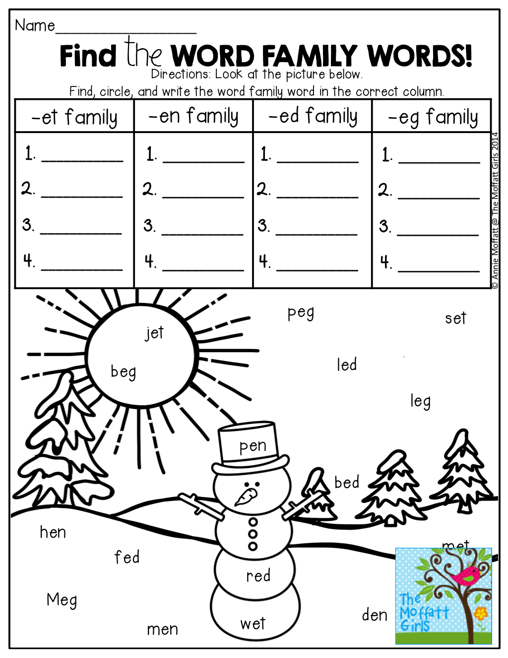 Find The Hidden Word Family Words And Write Them In The Correct Column So Many Fun Printables That Word Families Word Family Activities Kindergarten Reading