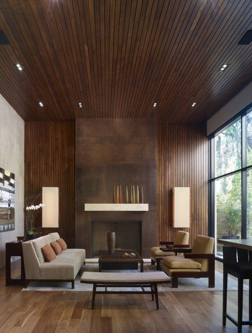 Love the wood wall & ceiling
