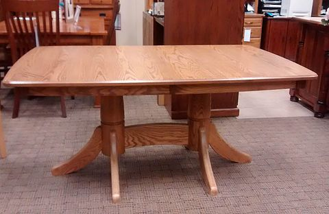 Bavaria Dining Table | Oak with OCS112 Provincial Stain | 42in x 66in with two 12in self-store leaves