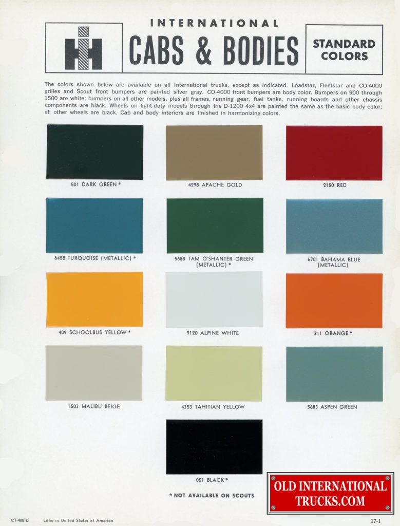 1965 International Truck color chart  Color Charts • Old