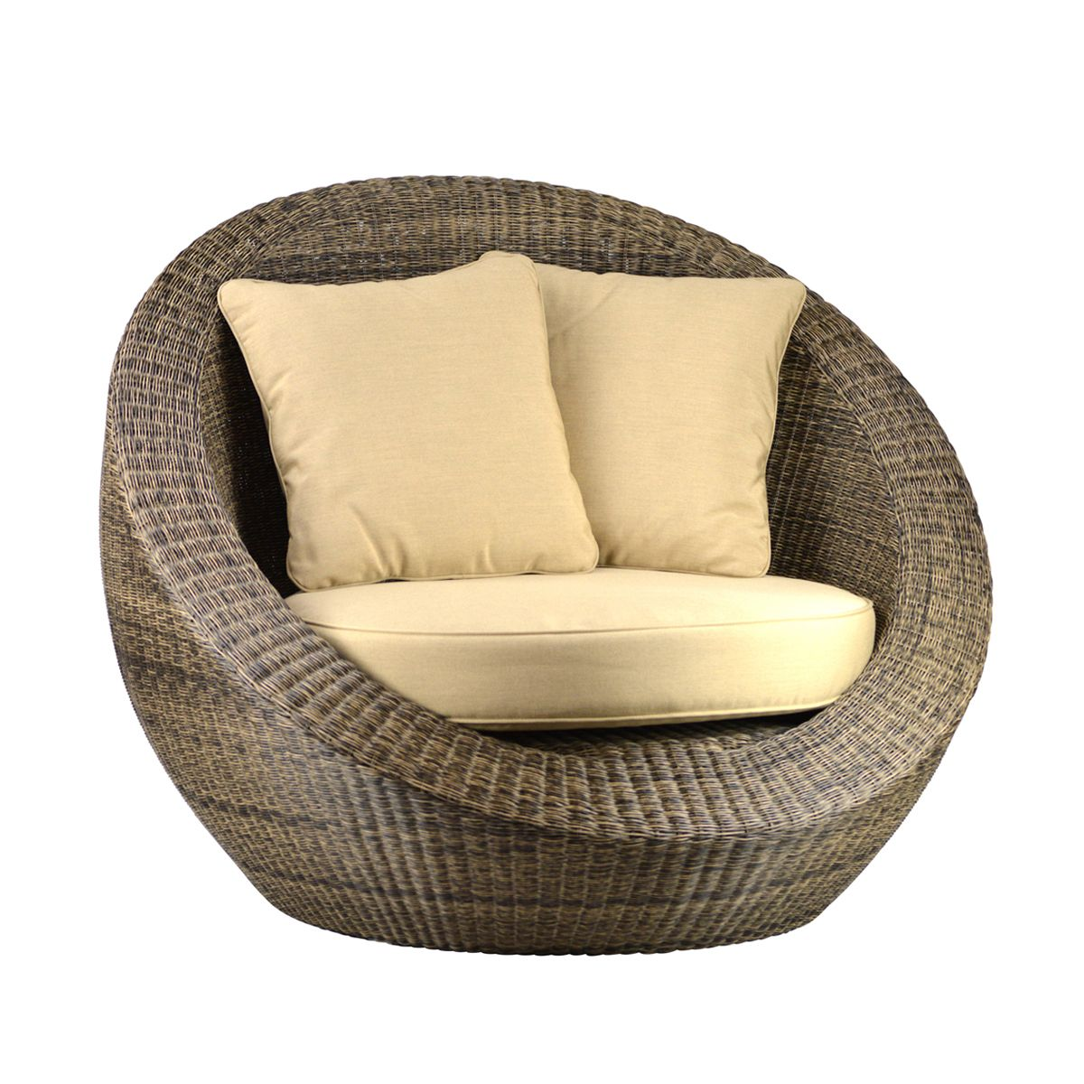 Outdoor Woven Fiber Round Chair Is High Quality Durable Poly Resin Over A Strong Sturdy Aluminum Base Add This Chair T Outdoor Chairs Round Chair Bubble Chair