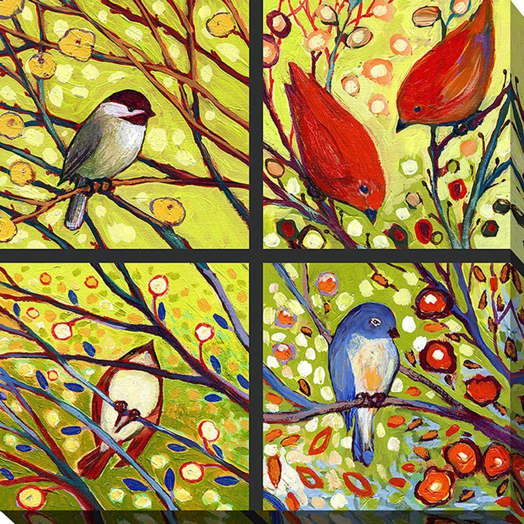 FramedArt.com Jennifer Lommers \'Bird Quadrant I\' Giclee Print Wall ...