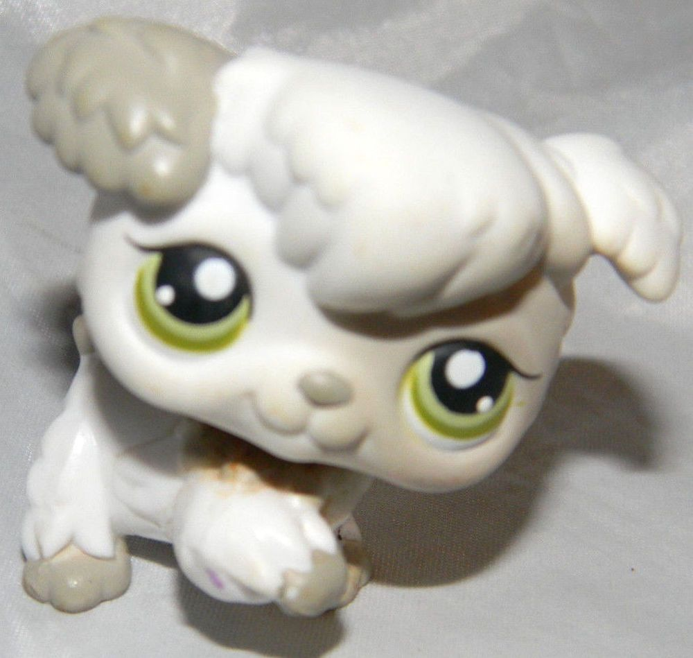 Littlest Pet Shop Gray And White Poodle Puppy Dog 203 Green Dot