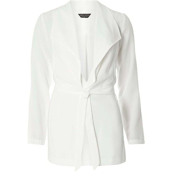 Dorothy Perkins White Long Sleeve Jacket ($59) ❤ liked on Polyvore featuring outerwear, jackets, white, long sleeve jacket, white jacket and dorothy perkins