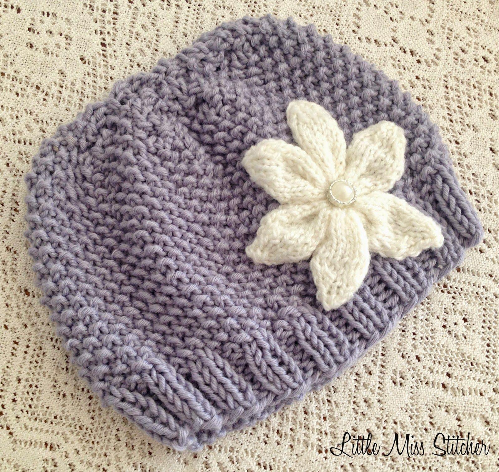 Little Miss Stitcher: Textured Knit Toddler Hat Free Pattern ...