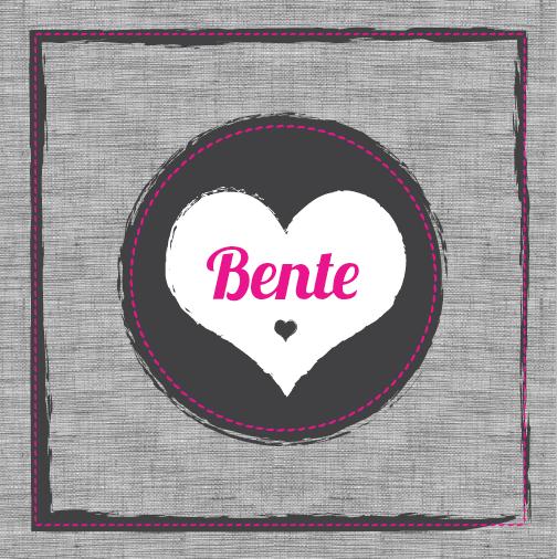 BENTE - Stoer geboortekaartje van 'Het Uilennestje' voor een meisje/ dochter.  www.hetuilennestje.nl  Linnen, grijs, antraciet, roze, stiksels.