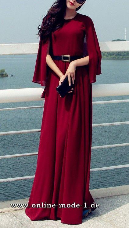 Elegantes Maxi Kleid Sommerkleid in Dunkelrot | Kleidung | Pinterest ...