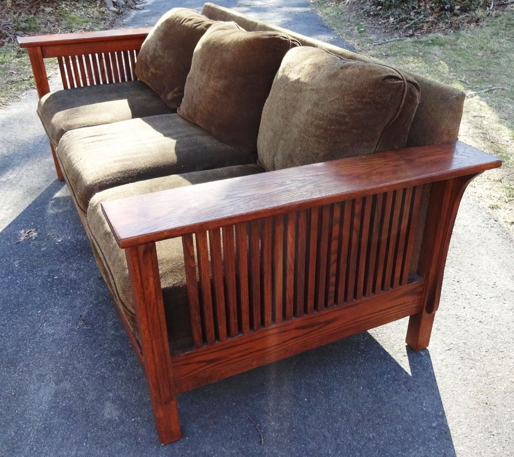 Broyhill Mission Oak Morris Stickley Style Sofa Arts Crafts Three Seater In Antiques Periods Styles Movement Ebay