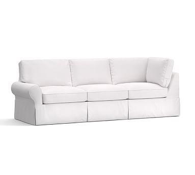 PB Basic Slipcovered Left Return Sofa, Down Blend Wrapped Cushions, Twill White