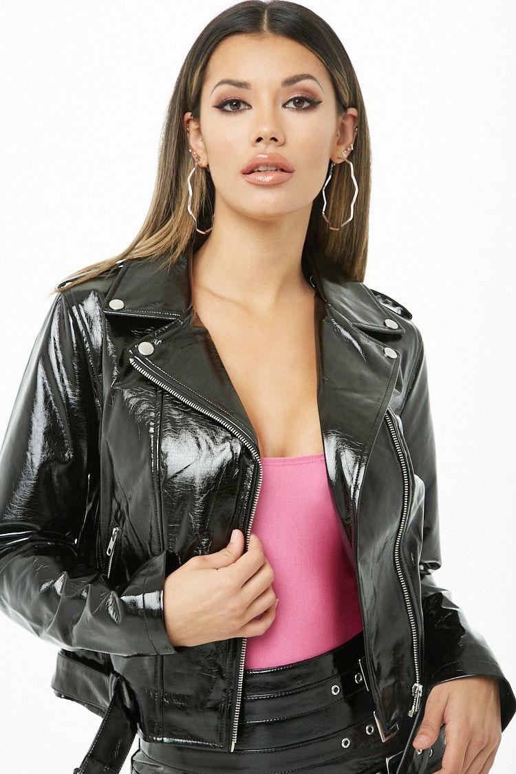 47409a2da94 Faux Patent Leather Moto Jacket