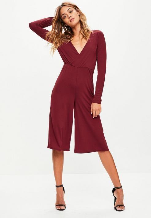 b1010c95ea36 Missguided - Burgundy Jersey Wrap Culotte Jumpsuit