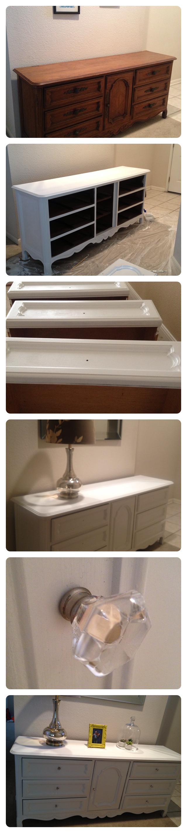 DIY Dresser - Sanded generously, Used Vaspar Signature Paint + Primer, Color:216344 White Semibrilliante/interior (Lowe's), Several Coats