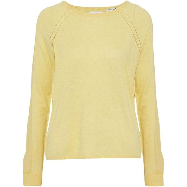 Halston Heritage Woman Chiffon-paneled Cutout Knitted Sweater Pastel Yellow Size XL Halston Heritage Cheapest Price Cheap Online Cheap Sale Manchester Great Sale Cheap Sale Fashionable Buy Cheap Classic Cheap Low Cost UZsq96