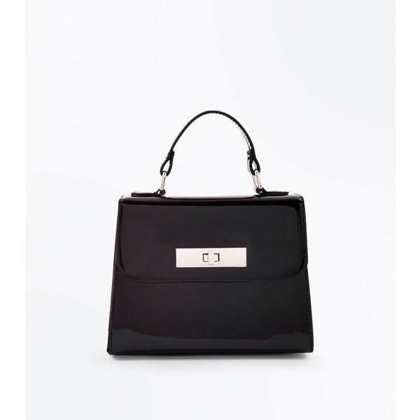 Black Patent Faux Fur Strap Handle Box Bag 24 Liked On Polyvore Featuring Bags Handbags Shoulder Top Leather