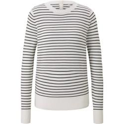 Tom Tailor Denim Damen gestreifter Pullover, white with black stripe, gestreift, Gr.S Tom TailorTom #stripedlongsleevetops