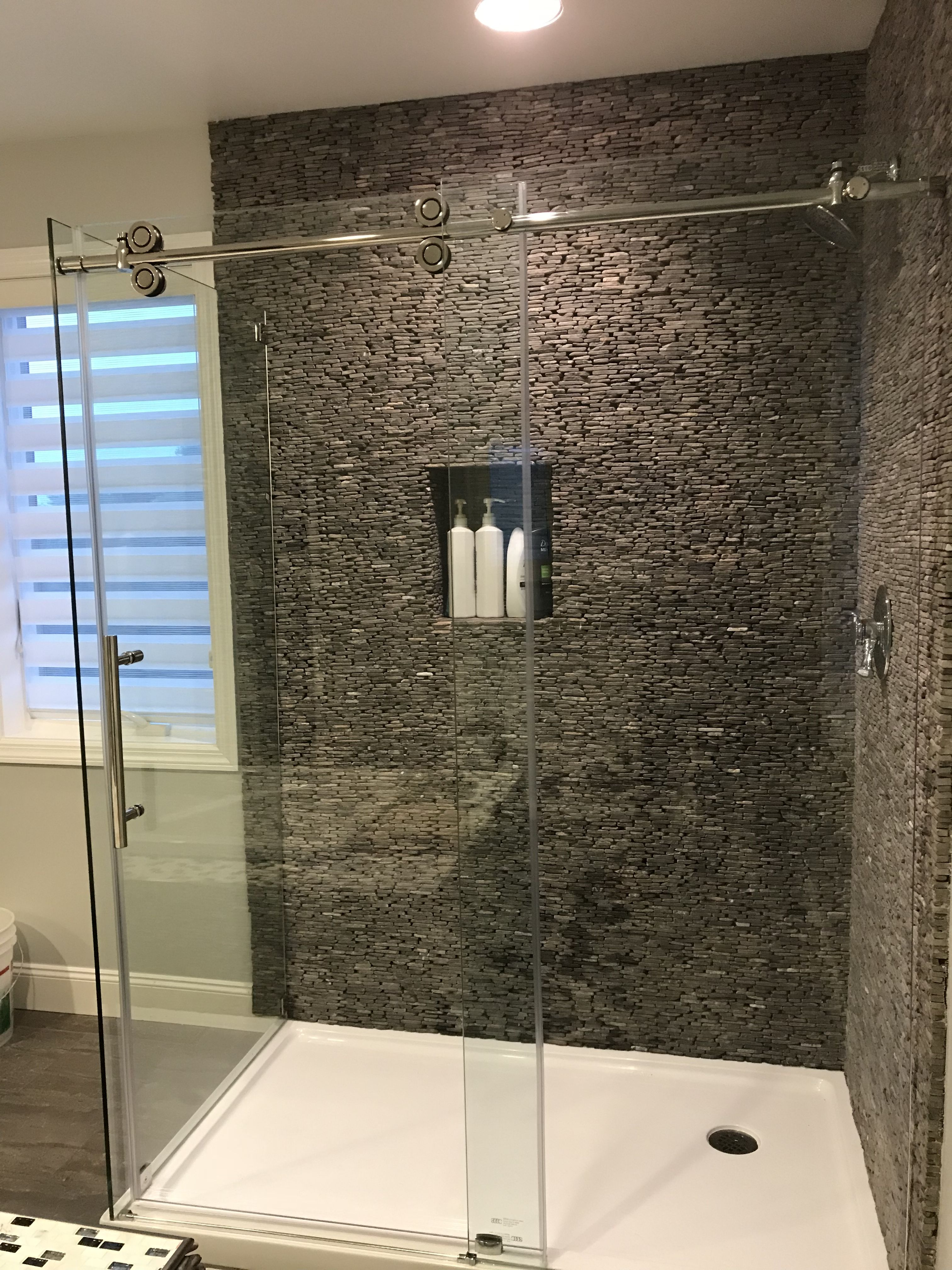 Grey Standing Mosaic Tile in 2020 Master bathroom shower