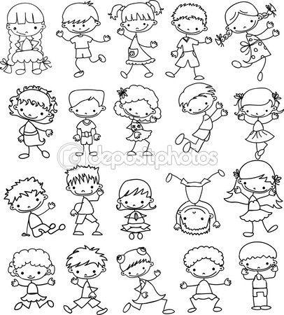 Nastavit Kreslene Childrenset Kreslene Deti Stock Ilustrace