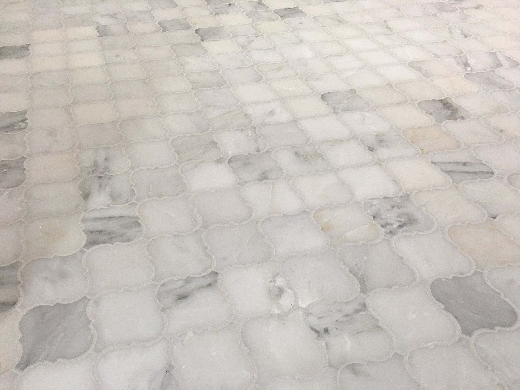 Carrera Marble Arabesque Mosaic Tile Bathroom Floor Marble Tile