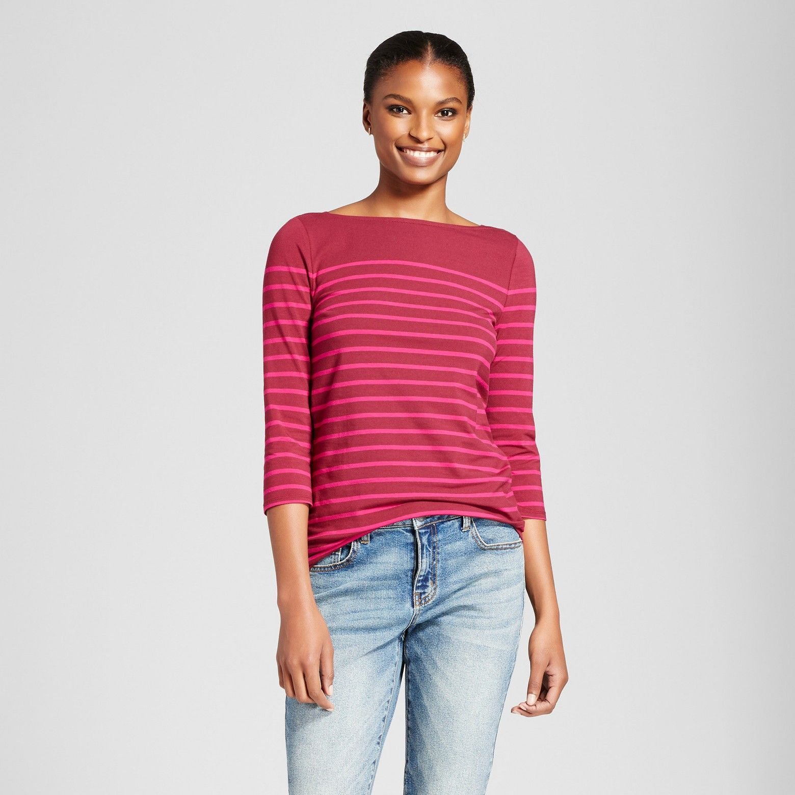 8f808b43ed0f0 Women s Striped 3 4 Sleeve Boatneck T-Shirt - A New Day™   Target ...