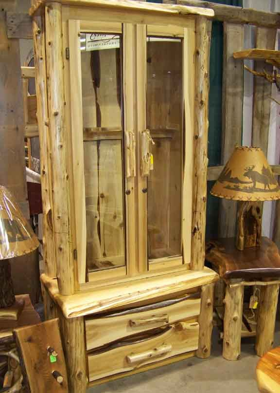 Rustic Gun Cabinet   Log Gun Cabinet   My Style   Pinterest   Guns ...
