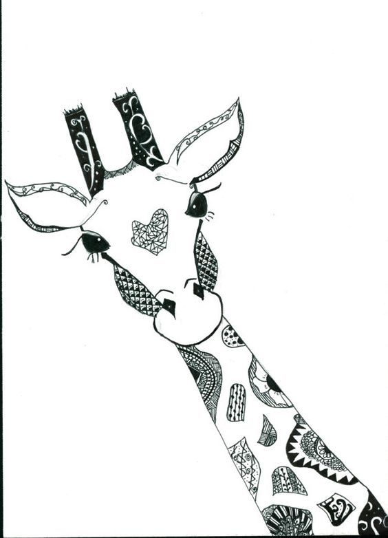Sonomasurrealist Animal Stencil Sharpie Art Giraffe Art