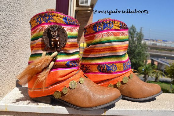 ETHNIC, HIPPIE, BOHO Folk, Tribal, Gypsy, Women, Multicolor Boots, Bohemian Boots, Bohochild Boots, Ankle Boots, Handmade Boots, Aztec Boots