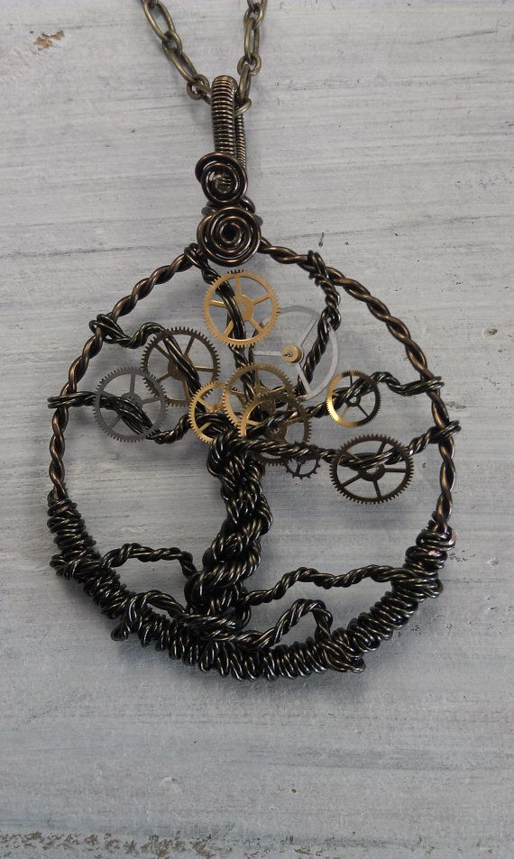 Steampunk Tree of Time Wire Wrapped Necklace by cottagecharm95