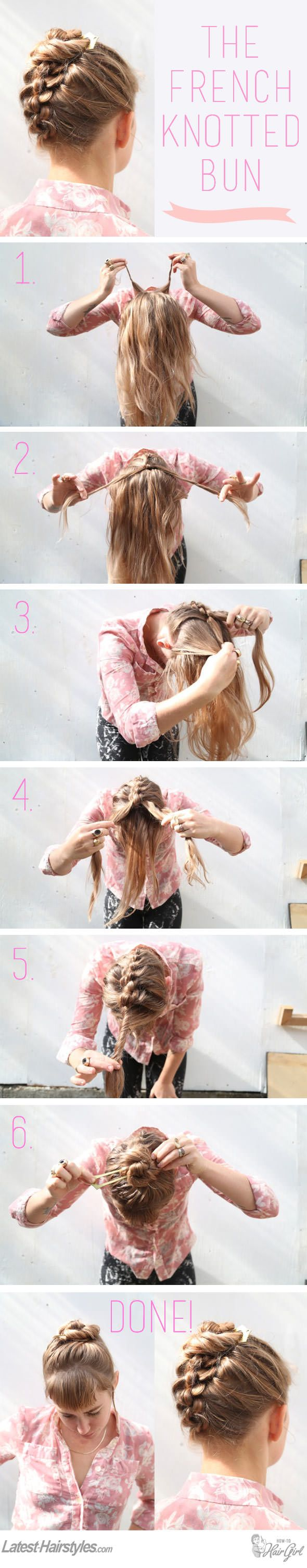 The Easiest Knotted Updo Tutorial You'll Ever Try images