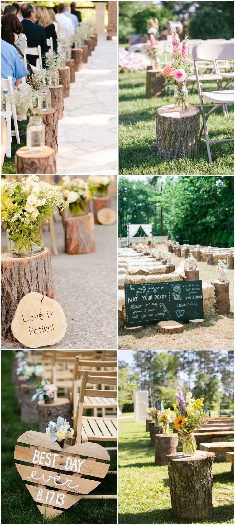 Rustic Woodsy Wedding Trend 2020 Tree Stump Wedding Aisle