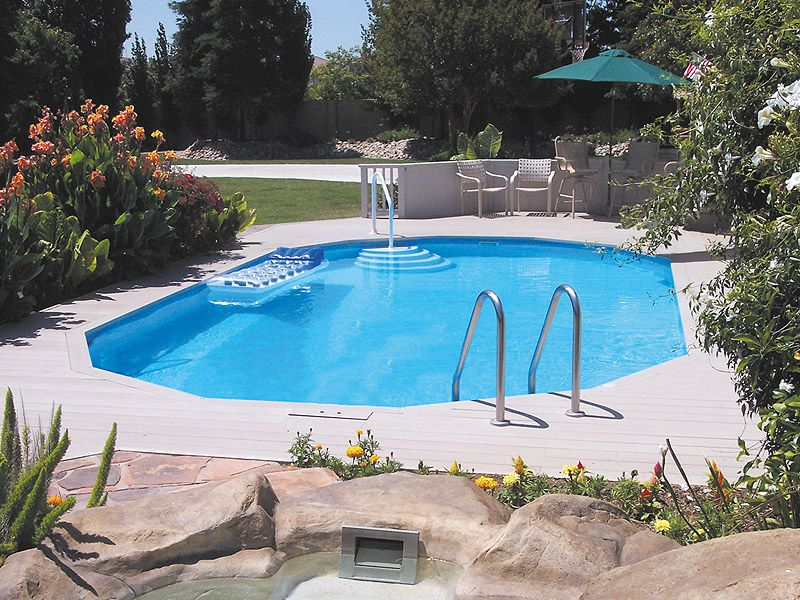 In ground doughboy pool half the cost of a for Half in ground pool ideas