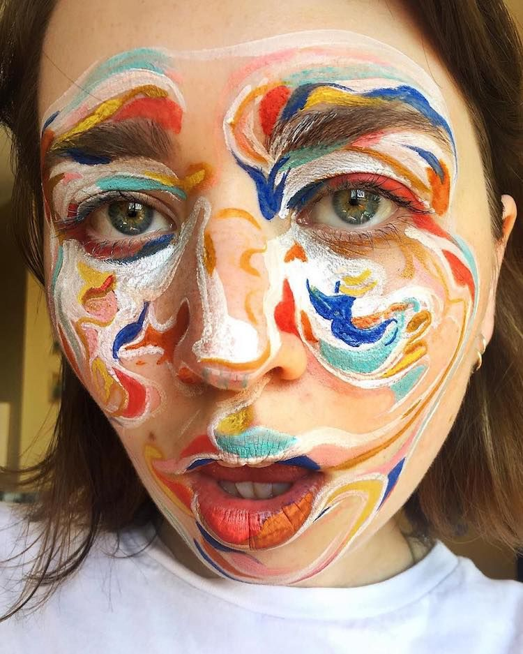 Body Art Makeup Artist Uses Faces As Canvas For Abstract Paintings Body Art Painting Abstract Faces Face Art