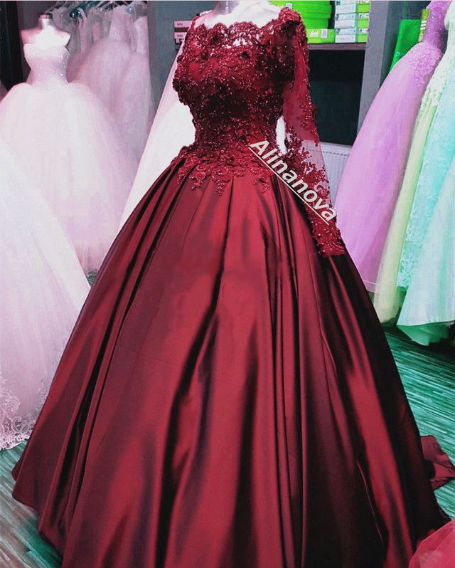 Burgundy Wedding Dresses with Sleeves