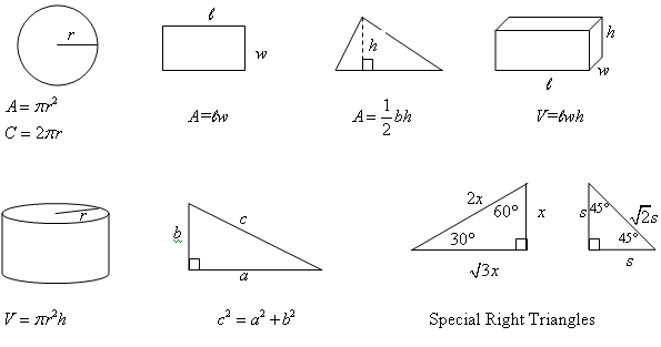 formulas sheet for geometry