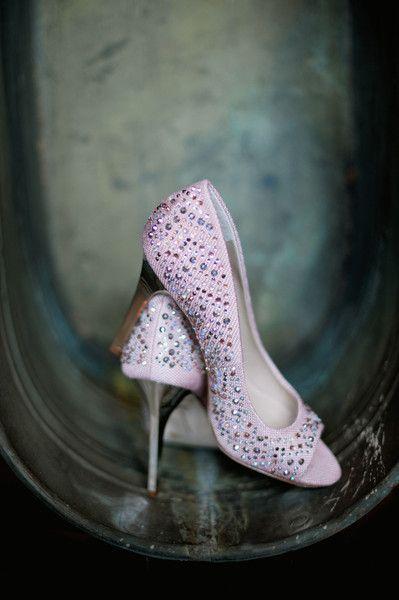 Show a little sparkle under your wedding dress with platform peep-toe high heels! {@offbeetpro}
