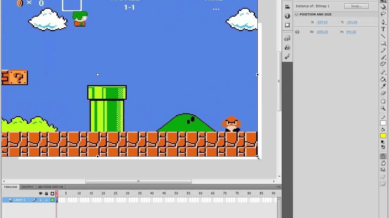 Adobe Flash CS5 Tutorial - Super Mario Animation (HD) | Adobe Flash