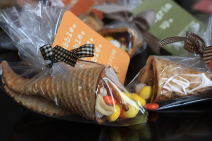 Waffle cone cornucopia favors! What a great idea!!!!