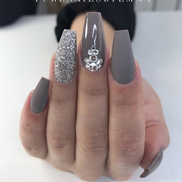 grey and glittery nails | Nails | Pinterest