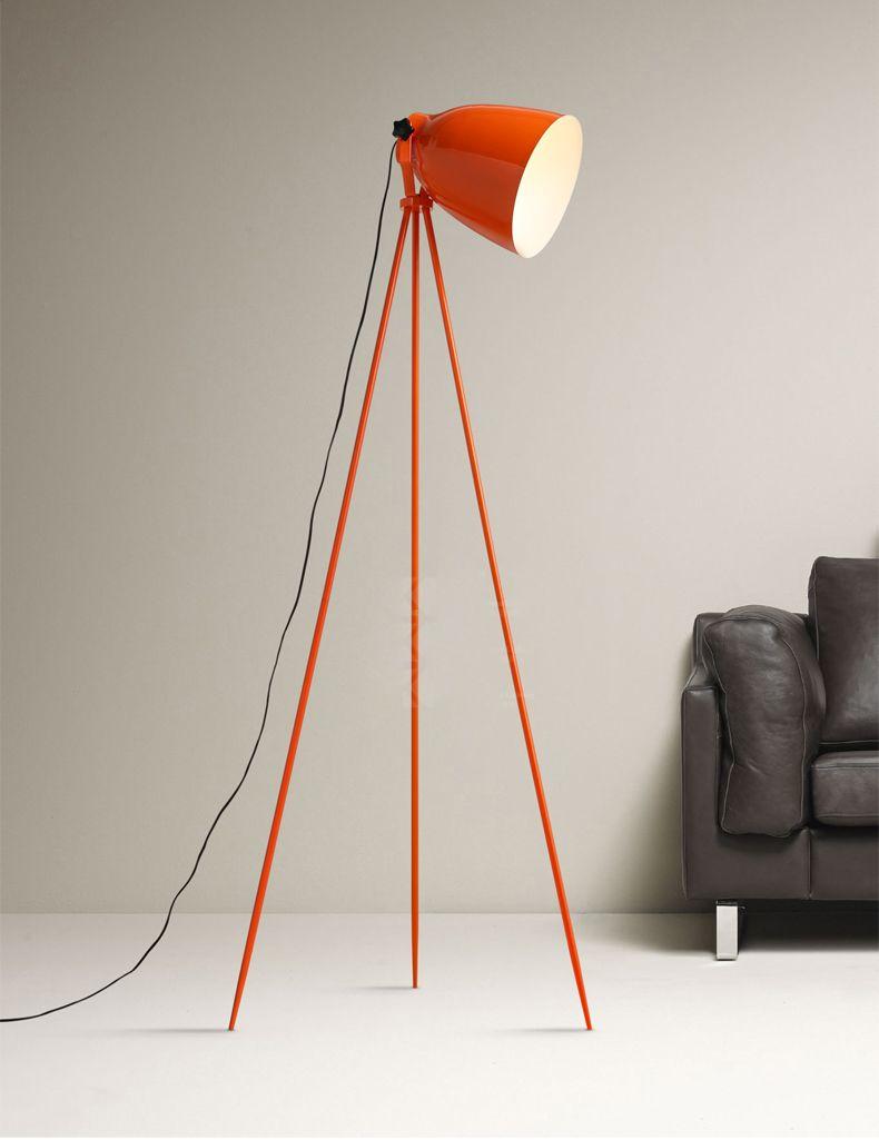 Nordic Design Orange Tripod Tricycle Work Office Floor Lamp Bedroom Living Room Desk Lamp Study Simple Office Floor Lamps Floor Lamp Metal Floor Lamps