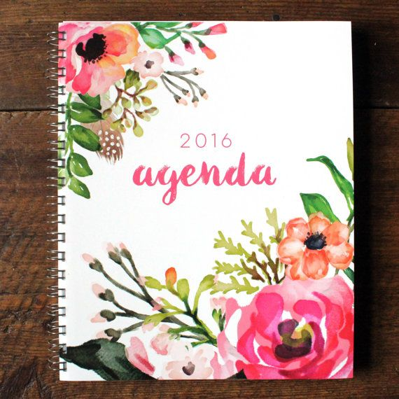 2016 Agenda // Planner Calendar Floral Watercolor Daily Weekly