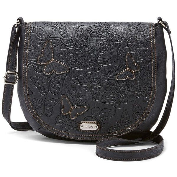 Relic Kendall Flap Butterfly Embossed Crossbody Saddle Bag ($29) ❤ liked on Polyvore featuring bags, handbags, shoulder bags, black, relic purses, crossbody shoulder bags, shoulder strap handbags, handbags shoulder bags and handbags purses