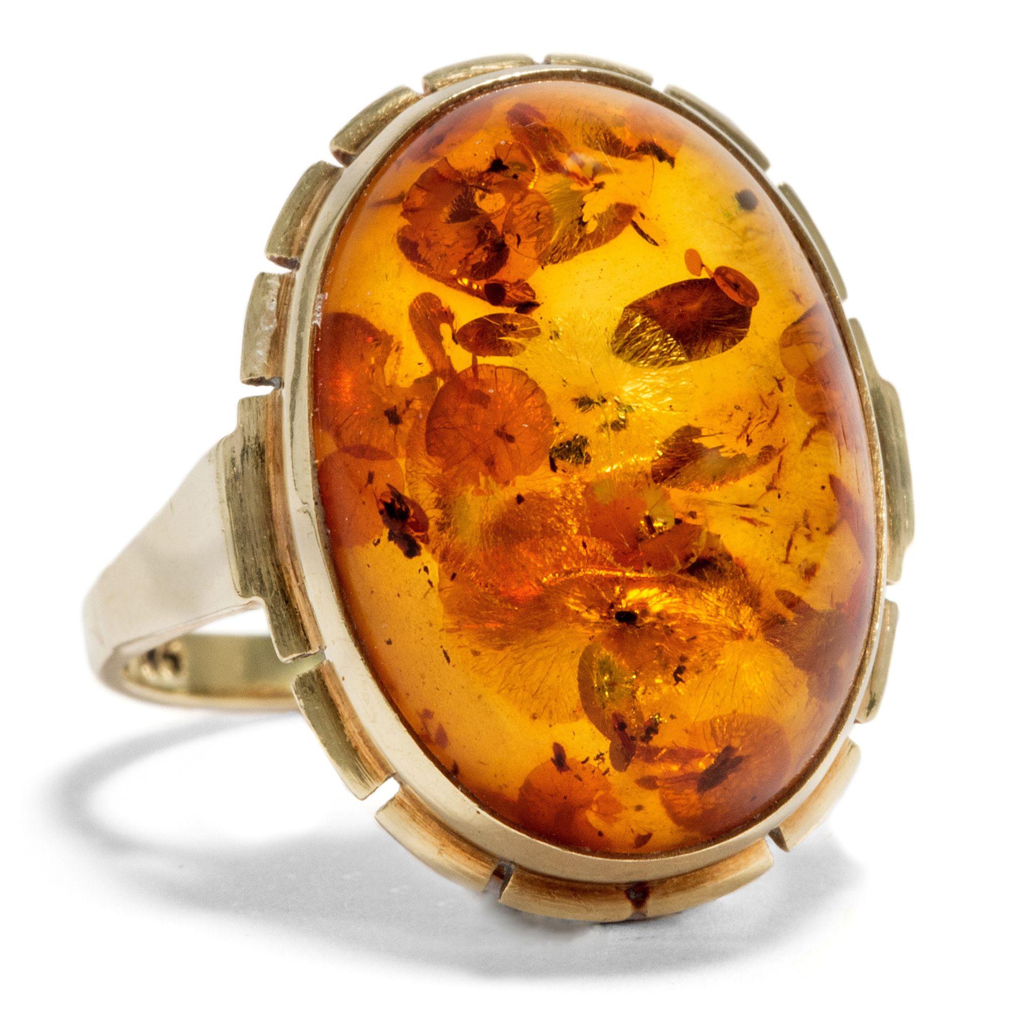 Eingefangenes Sonnenlicht - Hübscher vintage Ring aus Gold & Bernstein, um 1965 von Hofer Antikschmuck aus Berlin // #hoferantikschmuck #antik #schmuck #Ringe #antique #jewellery #jewelry // www.hofer-antikschmuck.de