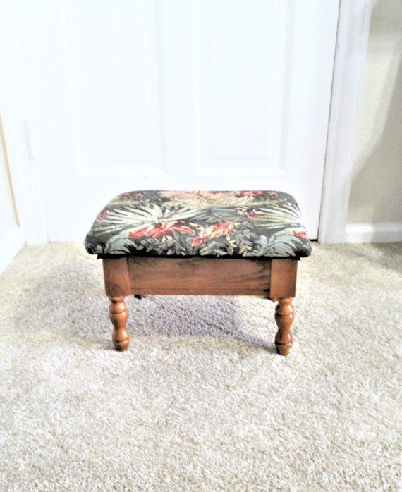 Description Wood Footstool With Decorative Legs And