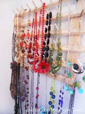 Thread bobbin holder to hang necklaces