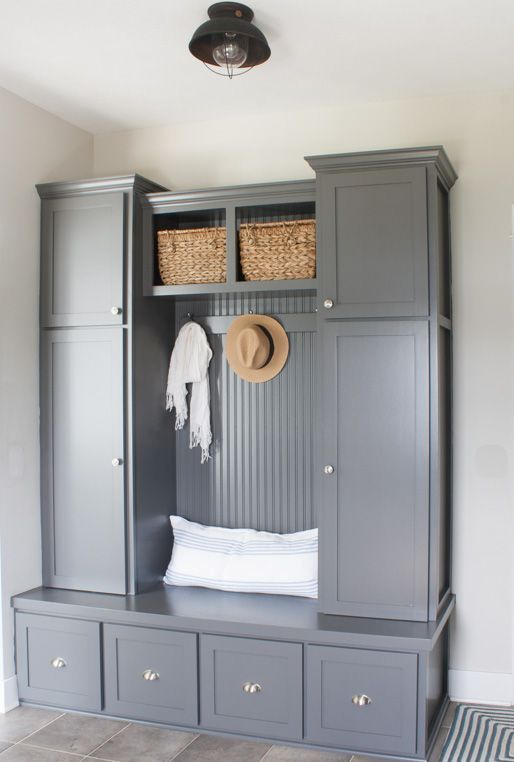 grey mudroom cabinets | Entryway Organizing Ideas | Pinterest