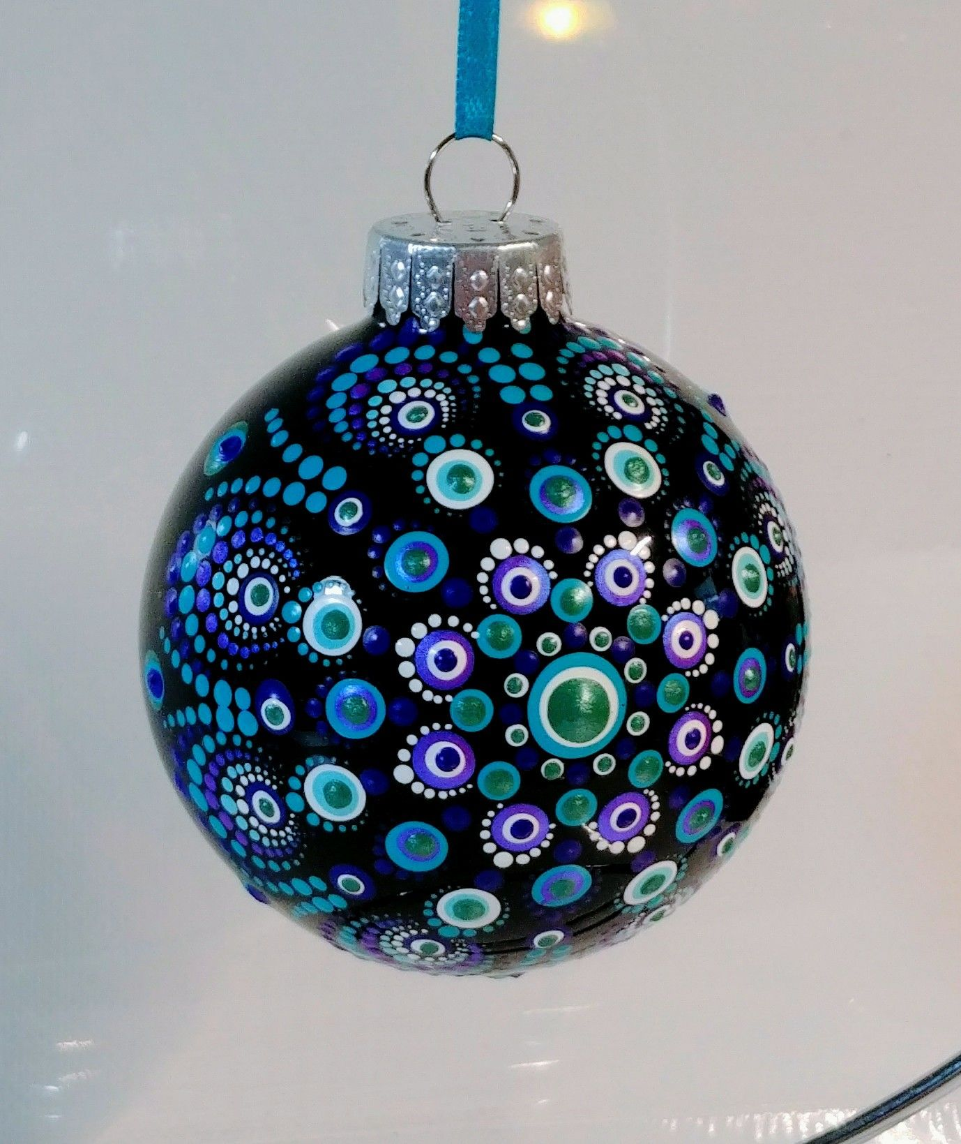 Hand Painted Christmas Ornament Painted Christmas Ornaments Christmas Mandala Handmade Christmas Ornaments
