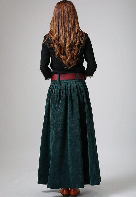 326d735fe5 Corduroy skirt. Three-quarter sleeve top. Boots and belt in same neutral. - Green  skirt maxi skirt long skirt pleated skirt by xiaolizi