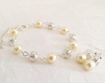 Set de joyería perla marfil marfil collar de por InfinityByClaire