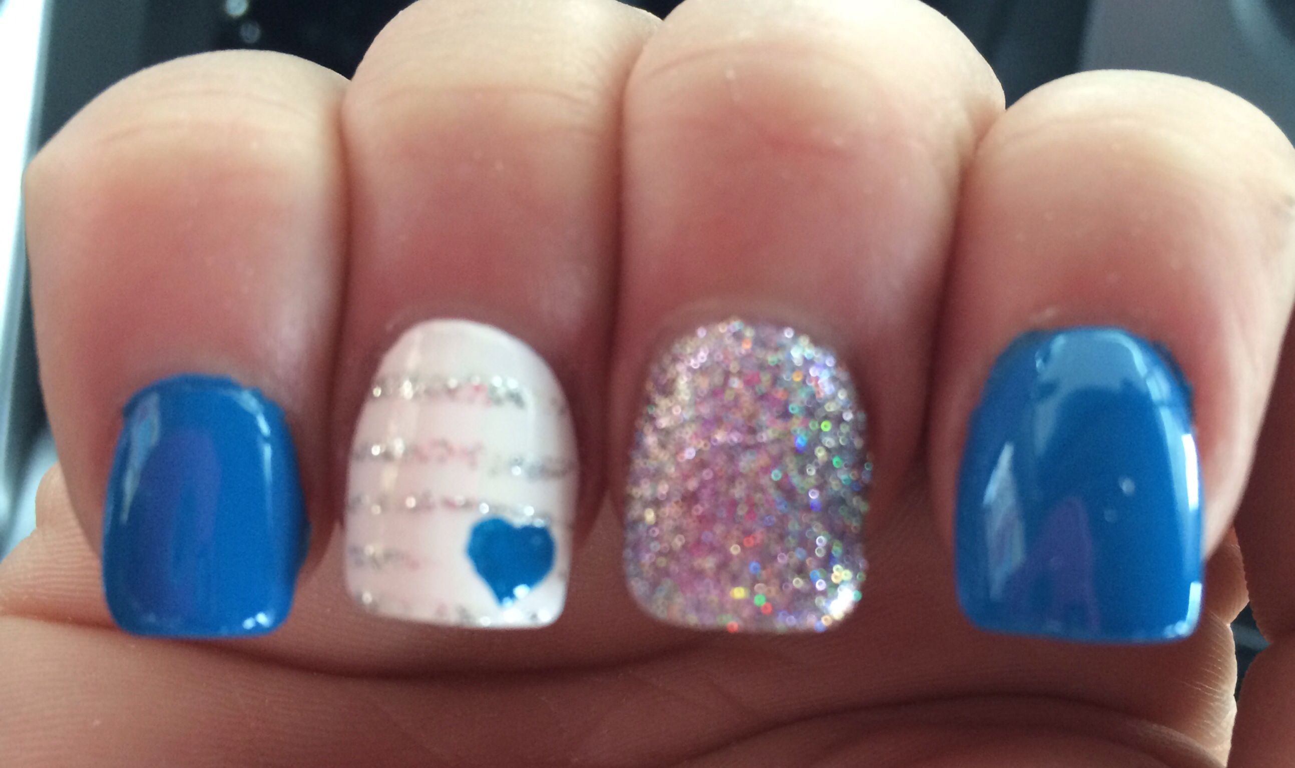 Blue, silver and white nails done at DG nail spa McMinnville,tn ...