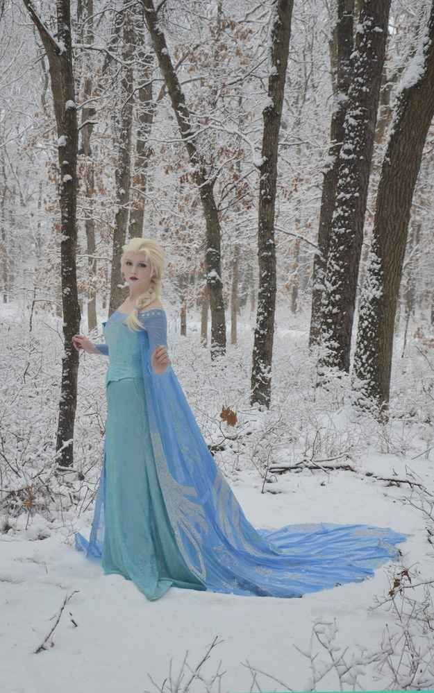 Elsa's snow queen dress from Frozen . | 19 Awesome DIY Halloween Costumes To Start Making Now